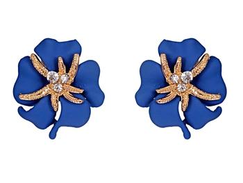 Flower Starfish Blue Studs