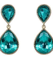 Buy Green Dual Droplet Drop Earrings danglers-drop online
