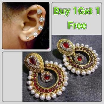Buy 1 get 1 free Maroon Pearl polki  earrings with ear cuff