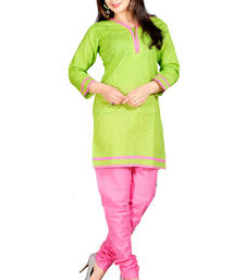 Buy Green and Pink Color Embelleshes Cotton Kurtis kurtas-and-kurti online