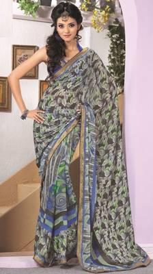 Sarees Faux Georgette Elegant Designer Piece with Blouse Piece D.No 3013A