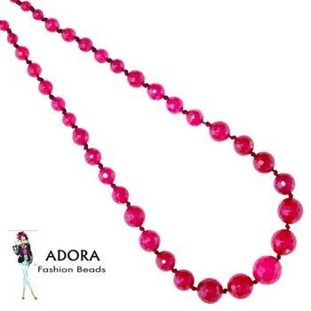 Radish Pink Jade facets Round Necklace