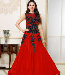 Buy Red resham embroidery Net  semi stitched salwar with dupatta party-wear-salwar-kameez online