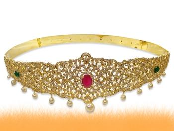 Multicolor american_diamonds waist-belt