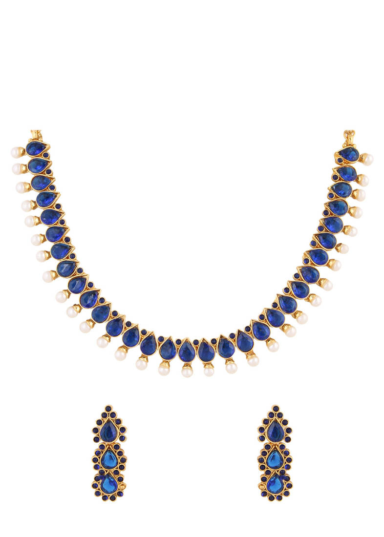 Buy Blue Stone Indian Necklace Set Online