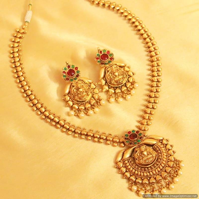 Buy Classy Kempu Stone Temple Jewellery Necklace Set Online