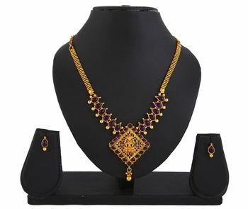 Goddess Laxmi Purple Temple Jewellery Pendant Earrings Set