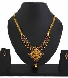 Buy Goddess Laxmi Purple Temple Jewellery Pendant Earrings Set necklace-set online