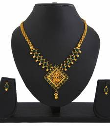 Buy Goddess GreenLaxmi Temple Jewellery Pendant Earrings Set necklace-set online