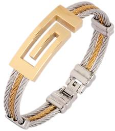 Buy Surgical Stainless Steel Gold Plated Openable Bracelet Kada for Men Bracelet online