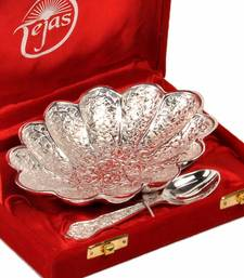 Buy Silver Polish Brass Bowl with Spoon Mothers Day diwali-silver-gift online