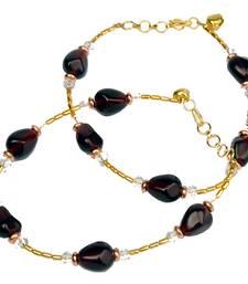 Buy Gorgeous Golden Maroon Designer Brass Payal Anklet anklet online