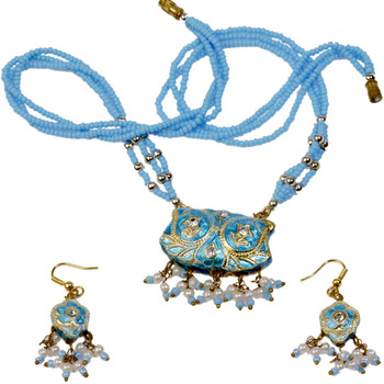 Stylish Turquoise Lacquer Jewellery Necklace Set