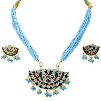 Traditional Jaipuri Design Blue Brass Necklace Set
