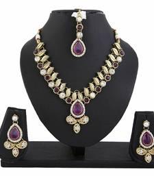 Buy Purple Kundan Necklace Earrings Set fashion-deal online