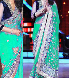 Buy MADHURI DIXIT BOLLYWOOD LIGHT SKY GREEN NET SAREE madhuri-dixit-saree online