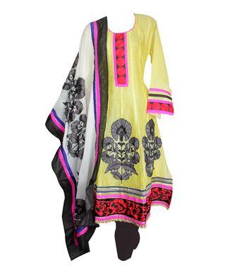 Sihiri Yellow Banaras Cotton Silk Anarkali Dress Material Punjabi Suit with Pink Georgette Dupatta