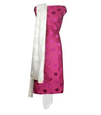 Sihiri Pink Banaras Cotton Silk Dress Material Punjabi Suit with White Dupatta