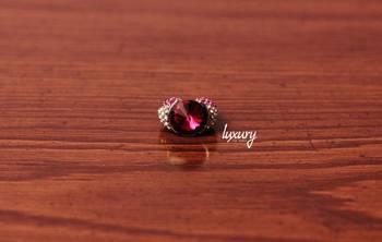 Maroon Pink Big Diamond RING, Adjustable Handmade, Precious Stone Jewelry