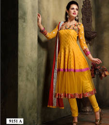 Buy Yellow embroidered silk cotton stitched ready to wear salwar kameez readymade-suit online