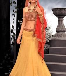 Buy Yellow Embroidered Lehenga with Orange Dupatta lehenga-choli online