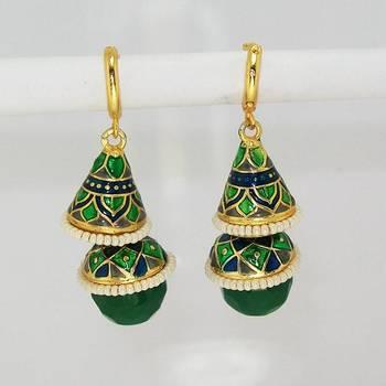 Meenakari Double Step Earring Green Blues