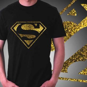 Superman Mens Glitter T-shirt at Offer,Mens Gold Special Effect Tshirt