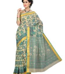 Buy Cream printed cotton saree with blouse below-500 online