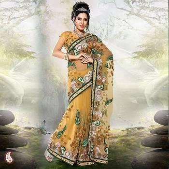 Golden Rod Yellow Net work sari
