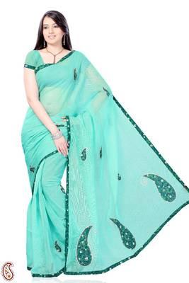 Patchwork Cyan Blue Kota Sari