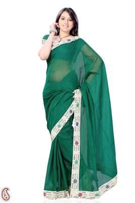 Dark Spring Green Lace work Kota Sari