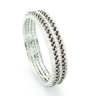 Stunning Silver AZ Diamond Bangle