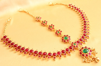 Grand antique royal pink-green kundan bridal maang tikka-DJ02956