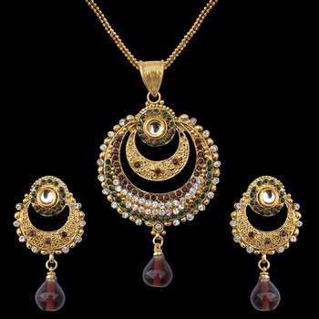 Buy ethnic indian bollywood jewelry set kundan pearl polki pendant ethnic indian bollywood jewelry set kundan pearl polki pendant set with chain aloadofball Images