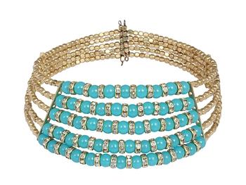 Blue Beads Choker Necklace