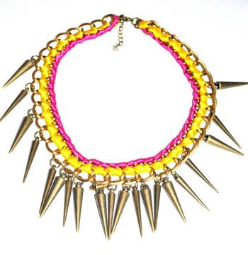 Ribbon and spikes handmade necklace