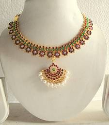 Buy BEAUTIFUL MANGO TEMPLE NECKLACE SET DJ14670 eid-jewellery online