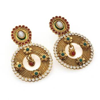 Beautiful Round Danglers in Maroon and Green