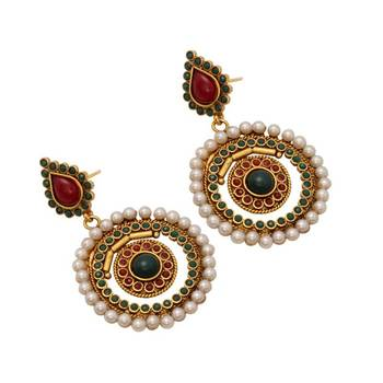 Round Danglers in Maroon and Green