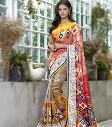Buy Yellow Digital printed linen saree with blouse linen-saree online
