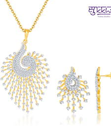 Pendant designs buy indian pendant sets online for women best prices sukkhi indian peacock cz gold and rodium plated pendant set mozeypictures Images