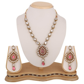 Antique Jewelry Pink Kundan Like Work Necklace Set b160lp