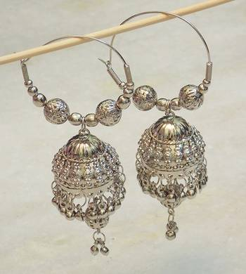 Beautiful light weight ethnic oxidised silver earring jhumki