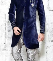 Buy blue embroidered brocade sherwani indo-western-dress online