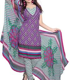 Buy Purple and multicolor printed Crepe unstitched salwar with dupatta multicolor-salwar-kameez online