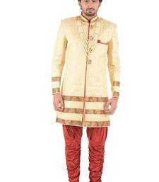 Buy yellow embroidered brocade sherwani indo-western-dress online