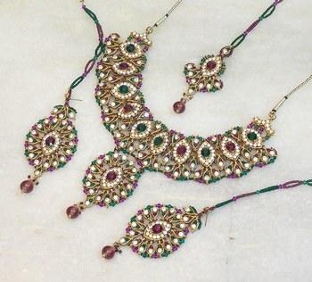 Elegant bridal party zircon colored stone necklace set ns08
