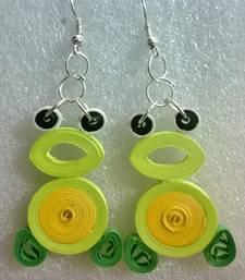 Buy Fluorescent Yellow Quilled Paper EarRings danglers-drop online
