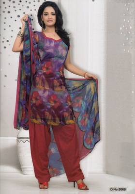 Dress Material Elegant French Crepe Printed Unstitched Salwar Kameez Suit D.No 5068