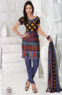 Dress Material Elegant French Crepe Printed Unstitched Salwar Kameez Suit D.No N109